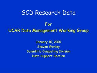 SCD Research Data