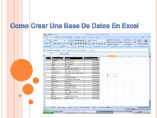 Como Crear Una Base De Datos En Excel