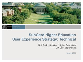 SunGard Higher Education  User Experience Strategy: Technical