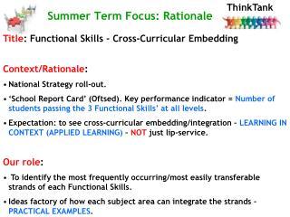 Summer Term Focus: Rationale