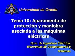 Tema IX: Aparamenta de protecci n y maniobra asociada a las m quinas el ctricas