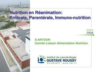 Nutrition en R animation: Ent rale, Parent rale, Immuno-nutrition