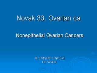 Novak 33. Ovarian ca
