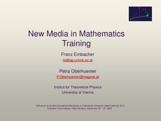 New Media in Mathematics Training