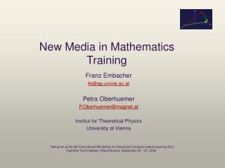 New Media in Mathematics Training