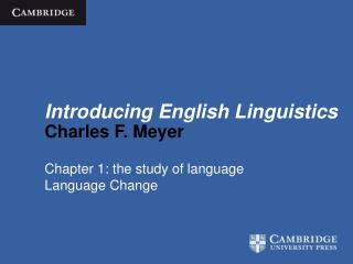 Introducing English Linguistics Charles F. Meyer