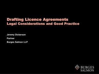 Drafting Licence Agreements  Legal Considerations and Good Practice