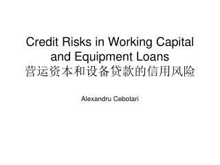 Credit Risks in Working Capital and Equipment Loans