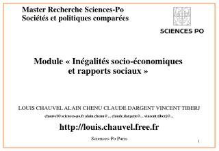 Master Recherche Sciences-Po Soci t s et politiques compar es  Module   In galit s socio- conomiques  et rapports sociau