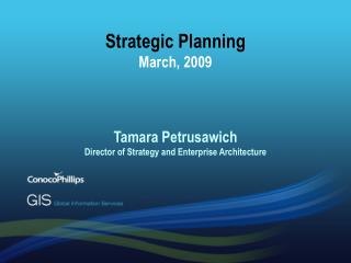 Strategic Planning March, 2009    Tamara Petrusawich Director of Strategy and Enterprise Architecture