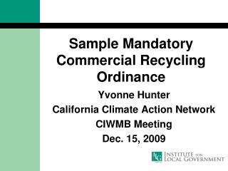 Sample Mandatory Commercial Recycling Ordinance