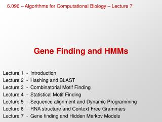 Gene Finding and HMMs