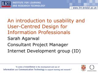 An introduction to usability and User-Centred Design for Information Professionals