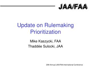 Update on Rulemaking Prioritization