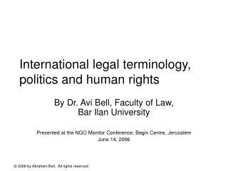 International legal terminology, politics and human rights