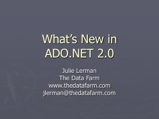 What s New in  ADO 2.0