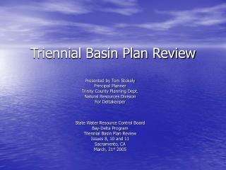 Triennial Basin Plan Review