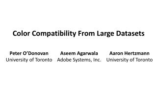 Color Compatibility From Large Datasets