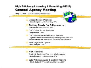High Efficiency Licensing  Permitting HELP General Agency Meeting