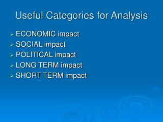 Useful Categories for Analysis