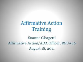 Affirmative Action  Training
