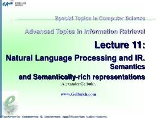 Special Topics in Computer Science   Advanced Topics in Information Retrieval   Lecture 11:   Natural Language Processin