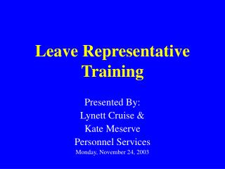 Leave Representative Training