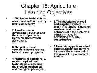 Chapter 16: Agriculture Learning Objectives