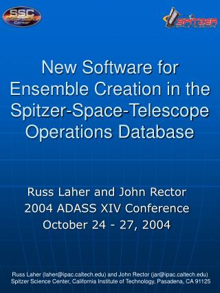 New Software for Ensemble Creation in the Spitzer-Space-Telescope  Operations Database