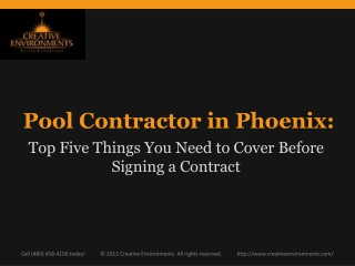Pool Contractor in Phoenix:  Top Five Things to Cover