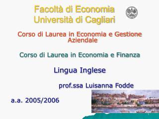 Facolt  di Economia Universit  di Cagliari