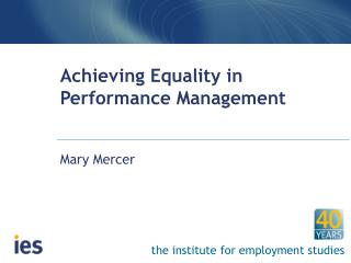 Achieving Equality in Performance Management