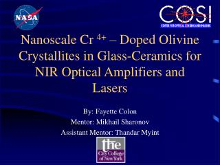 Nanoscale Cr 4   Doped Olivine  Crystallites in Glass-Ceramics for NIR Optical Amplifiers and  Lasers