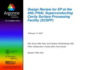 Design Review for EP at the ANL