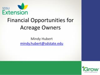 Financial Opportunities for Acreage Owners