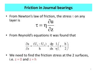 Friction in Journal bearings