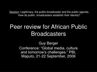 Peer review for African Public Broadcasters