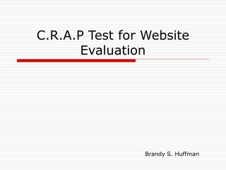 C.R.A.P Test for Website Evaluation