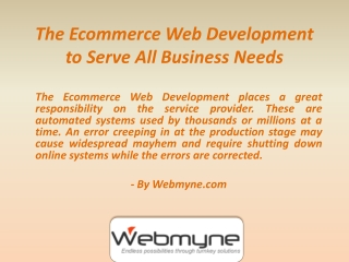 What the Ecommerce Web Development Services Can Do For Busin