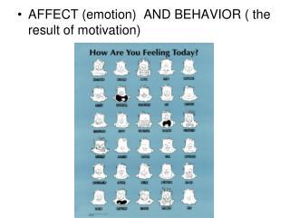 AFFECT emotion  AND BEHAVIOR  the result of motivation