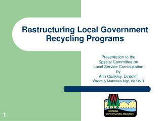 Restructuring Local Government Recycling Programs
