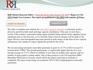 Australia Renewables Energy Market Report Q1 2013