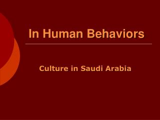 In Human Behaviors