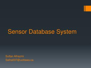 Sensor Database System