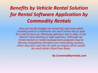 Benefits by Vehicle Rental Solution for Rental Software Appl