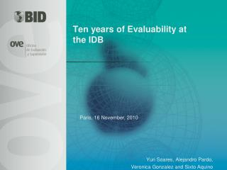 Ten years of Evaluability at the IDB