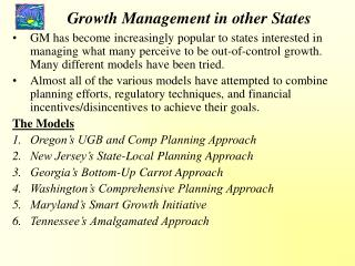 Growth Management in other States