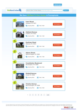 Rent to own homes in PA