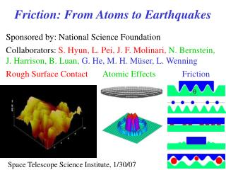 Sponsored by: National Science Foundation Collaborators: S. Hyun, L. Pei, J. F. Molinari, N. Bernstein, J. Harrison, B.