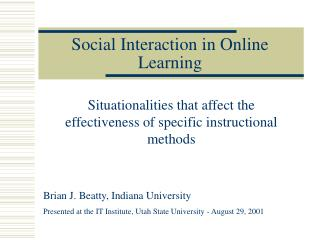 Social Interaction in Online Learning